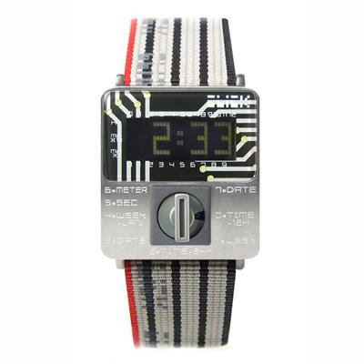 CLICK TURN 復古電路板個性電子腕錶(銀黑)