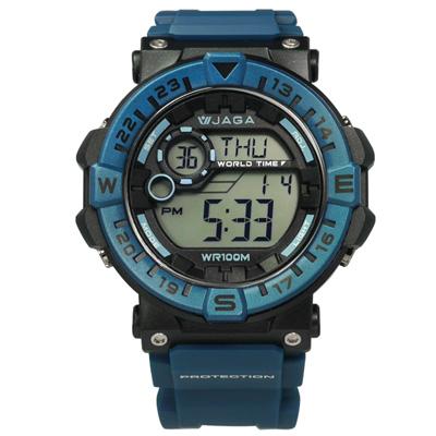 JAGA 捷卡 活力電子運動計時鬧鈴防水橡膠手錶-藍黑色/49mm
