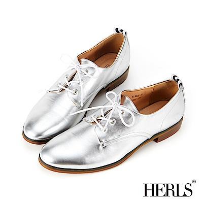 HERLS 內真皮 織帶素面德比牛津鞋-銀色