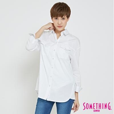 SOMETHING 簡約都會長版襯衫-女-白色