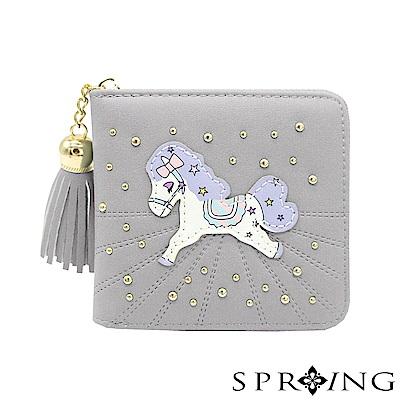 SPRING-夢幻彩虹pony拉鍊短夾-煙燻深灰