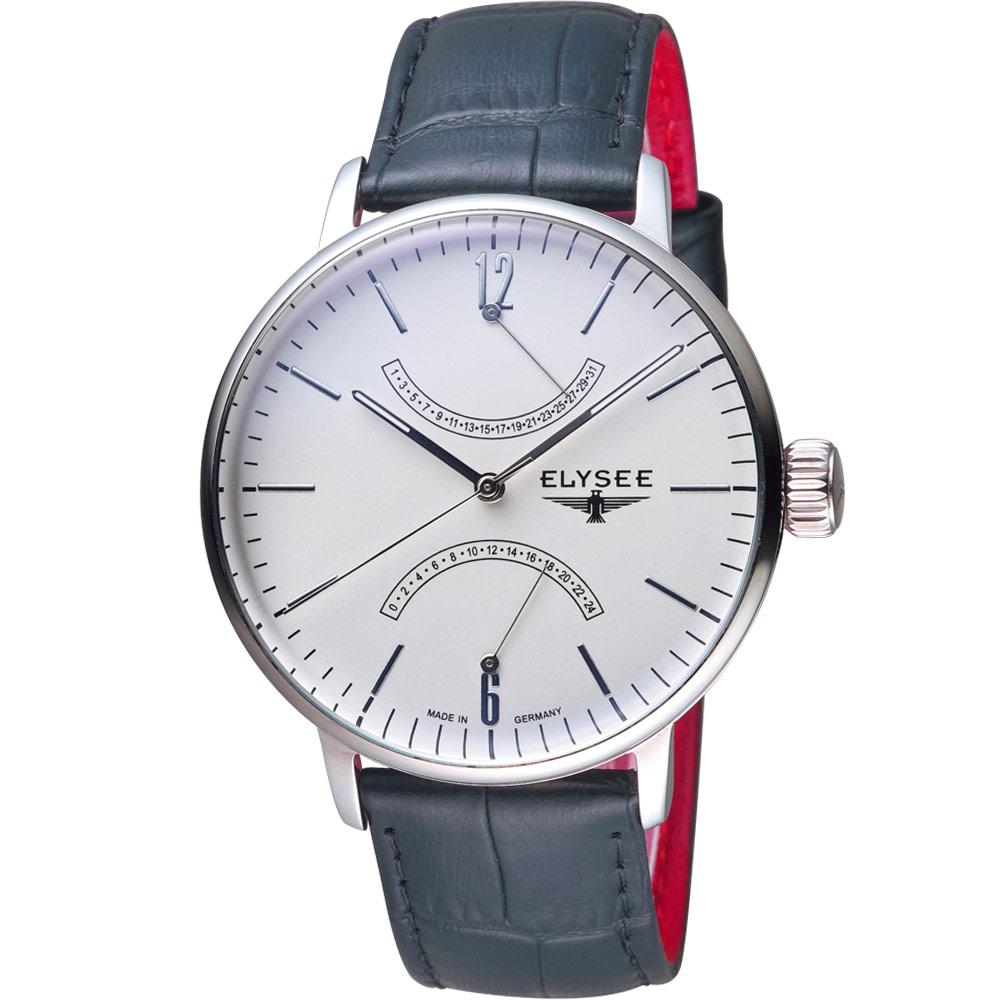 ELYSEE  Classic Sithon 雙逆跳復刻紳士腕錶-白/42mm