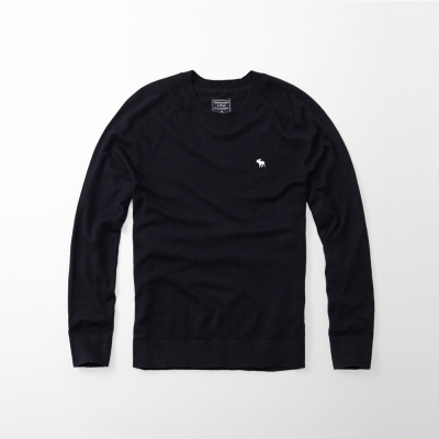 A&F 經典麋鹿刺繡長袖毛衣-深藍色 AF Abercrombie