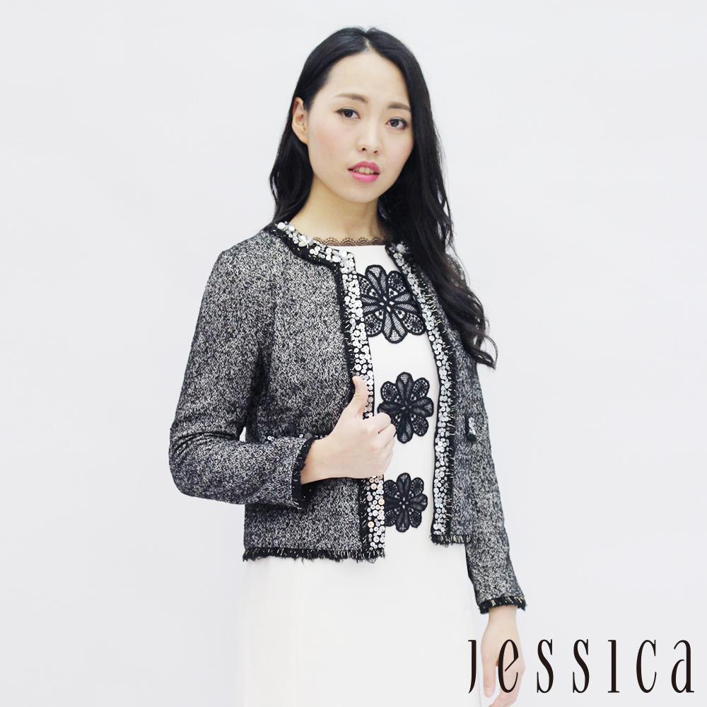 JESSICA - 氣質流蘇亮片設計外套(灰)