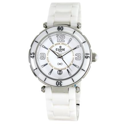 CLOIE 時尚魅力陶瓷腕錶-白/40mm