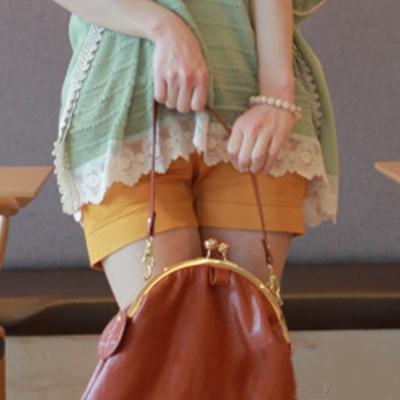 韓系-鈕扣裝飾反折短褲-黃-Pink-banana