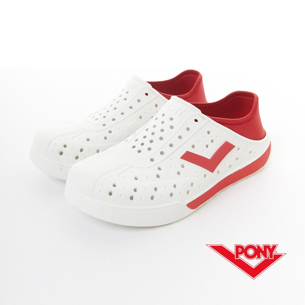 PONY-EN-JOY系列-2Way休閒兩穿洞洞鞋-白/紅-中性