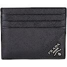 PRADA Saffiano 銀字浮刻防刮牛皮萬用卡片夾(黑色)