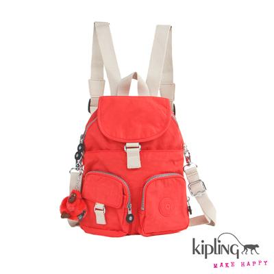 Kipling-後背包-珊瑚玫瑰粉素面