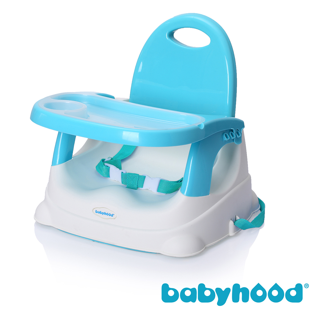 babyhood 咕咕兒童折疊餐椅 粉藍款  附透明餐盤面紙盒