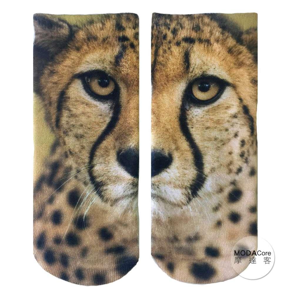 摩達客 美國進口Living Royal 獵豹臉 短襪腳踝襪彈性襪動物圖案襪