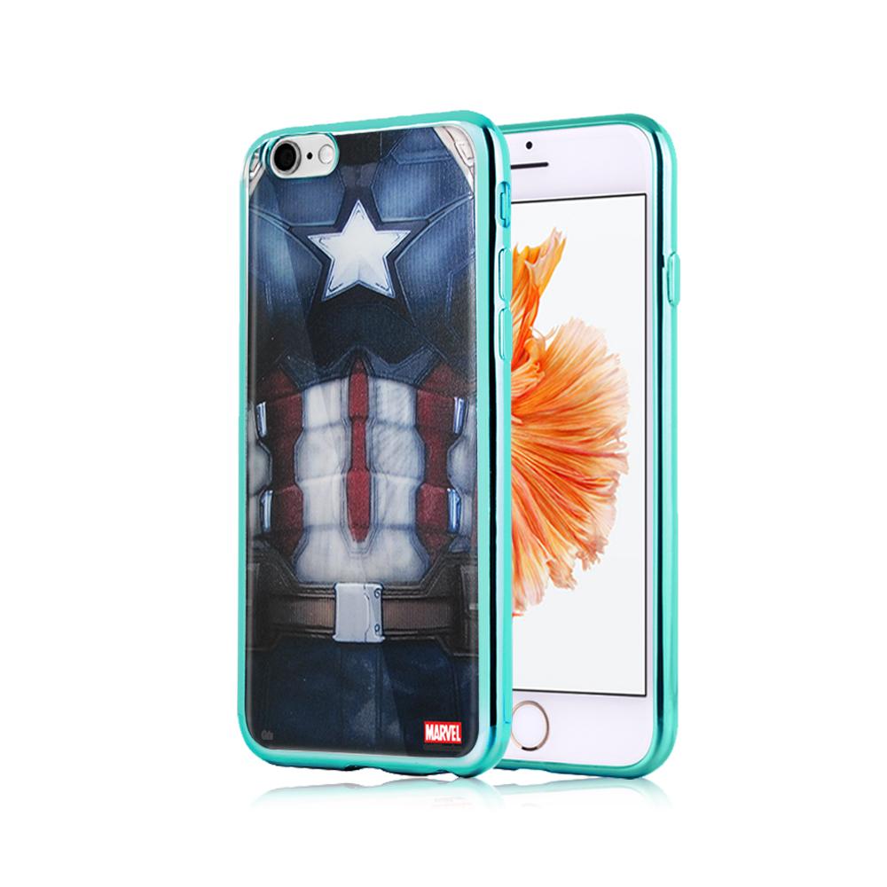 漫威正版 iPhone 6S Plus 5.5吋 美國隊長3 彩繪電鍍手機殼(隊長裝)