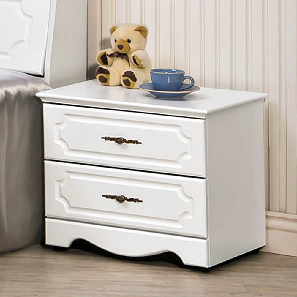 H&D 安東尼烤白色床頭櫃 (寬52.5X深40X高46.5cm)
