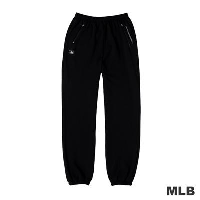 MLB-大聯盟雙側拉鍊口袋縮口印花厚棉長褲-黑色(男)