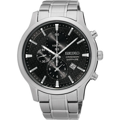SEIKO 日系美學時尚計時腕錶(SNDG67P1)-黑/42mm