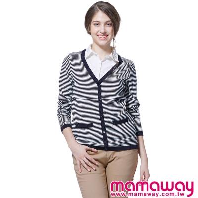 孕婦裝-哺乳衣-大V領針織孕哺假兩件上衣-共二色-Mamaway