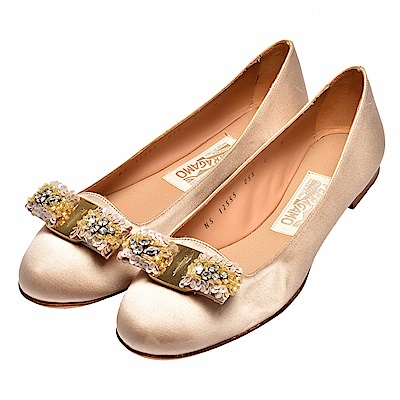 Salvatore Ferragamo Scott亮片蝴蝶結緞面芭蕾舞平底鞋(香檳金)