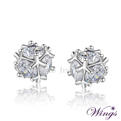 Wings 晶球閃耀 進口方晶鋯石美鑽耳環