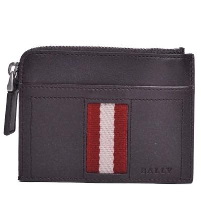 BALLY TENYT 經典紅白條紋織帶皮革卡片拉鍊零錢夾(咖啡)