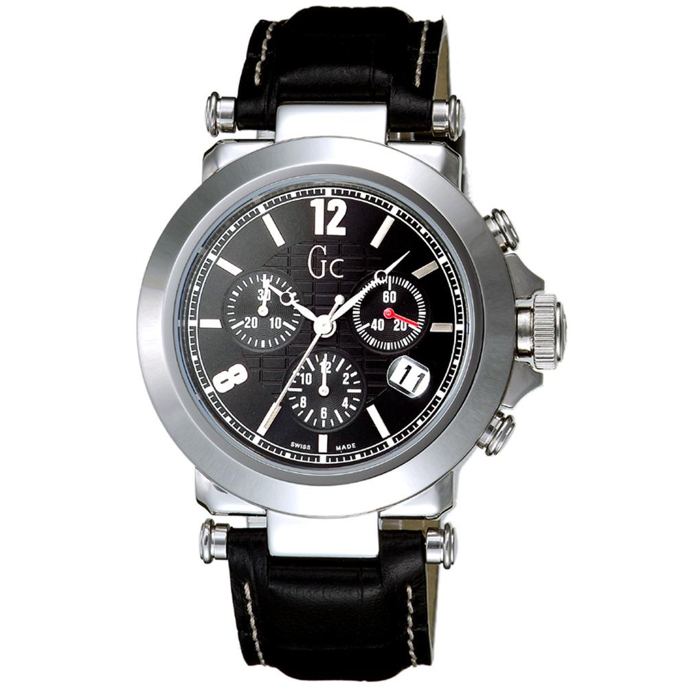 Gc 知性時尚三眼計時錶(黑)~SWISS MADE