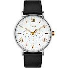 TIMEX 天美時 風格系列 羅馬字三眼多功能手錶 白x黑/41mm