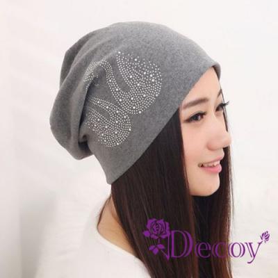 Decoy-水鑽天鵝-輕巧男女保暖布帽-灰