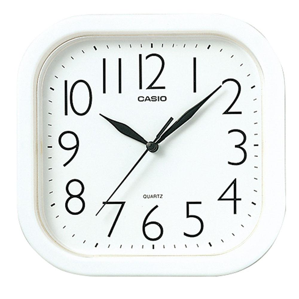 CASIO  流線大方指針方形掛鐘(白)