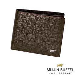 BRAUN BUFFEL - CHUCHO丘喬系列12卡中間翻透明窗皮夾 - 可可色