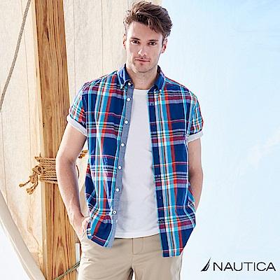 Nautica時尚大格紋短袖襯衫 -深藍格