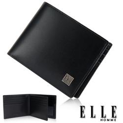 ELLE HOMME 法式短夾 嚴選義大利皮革、鈔票多層/證件/名片格層設計短夾-黑