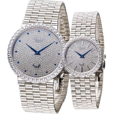 Ogival 愛其華 愛的宣言晶鑽對錶-銀/38+30mm