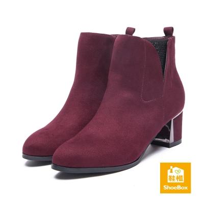 鞋櫃ShoeBox 短靴-水鑽布款尖頭粗高跟踝靴-酒紅