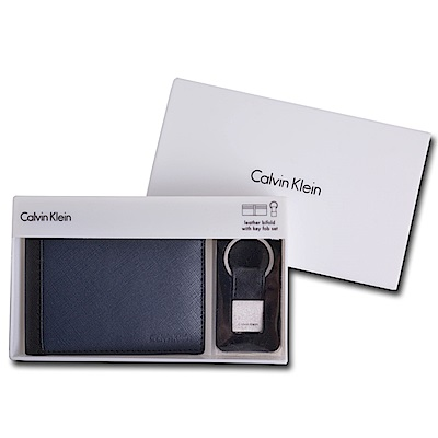 Calvin Klein CK 皮革雙色短夾禮盒兩件組附鑰匙圈(海軍藍)