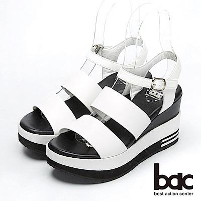 bac優雅品味-經典簡約厚底台涼鞋-白色