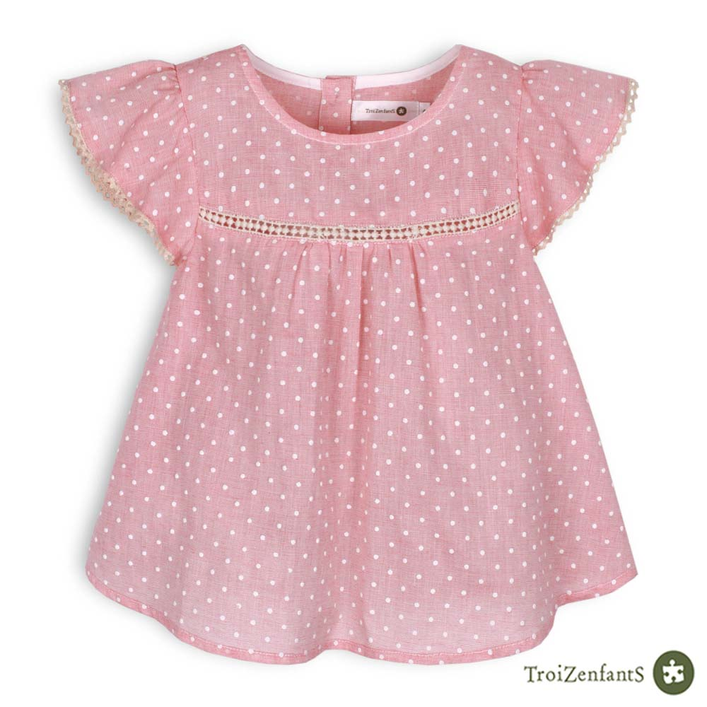 TroiZenfantS 法國精品 刺繡點點蝴蝶袖蕾絲上衣