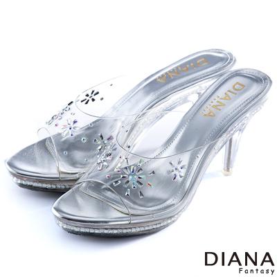 DIANA-童話故事-花朵綻放水鑽玻璃跟鞋-銀