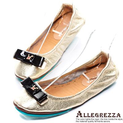 ALLEGREZZA-真皮舒適折疊鞋-便鞋-金