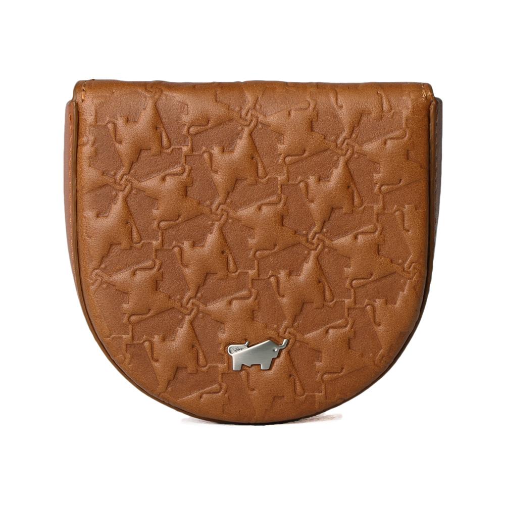BRAUN BUFFEL - 艾爾巴系列拱型壓紋零錢包 - 焦糖棕