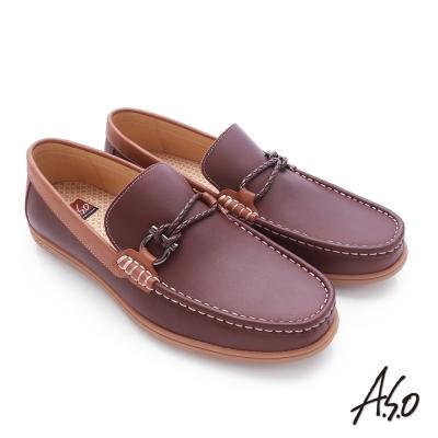 A.S.O 3D超動能 苯染牛皮直套式低筒帆船鞋 酒紅色