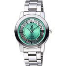 VOGUE 曼波系列鏤空藝術腕錶-綠x銀/38mm