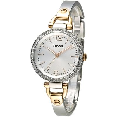 FOSSIL 心鑽交響時尚手鍊女錶(ES3447)-銀白+玫瑰金/33mm