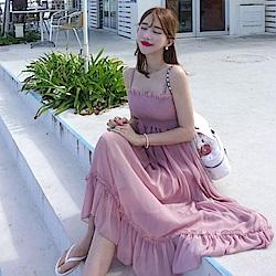 La Belleza細肩帶胸圍鬆緊荷葉邊裙擺雪紡洋裝
