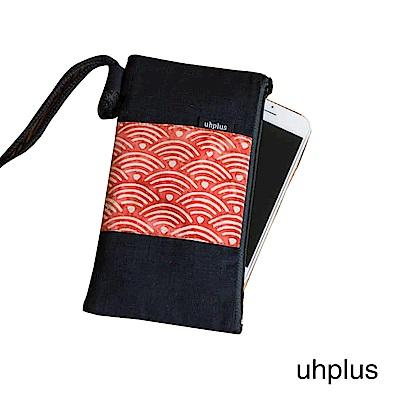 uhplus 和風紋柄手機袋-青海波(紅)