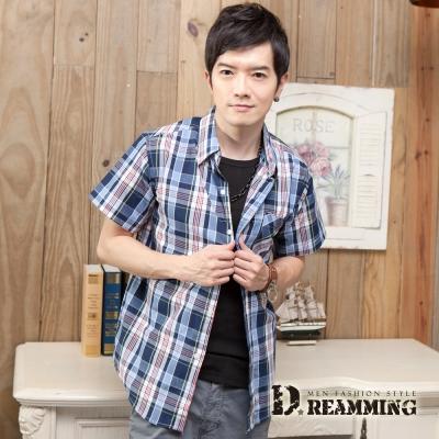 Dreamming 格紋學院氣質純棉短袖休閒襯衫-藍黃