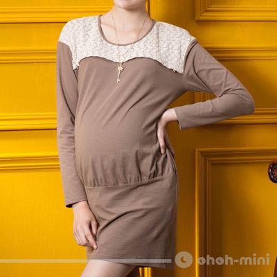 【ohoh-mini 孕婦裝】奢華風情圓領蕾絲彈性孕哺洋裝