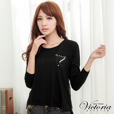 Victoria 燙片雪紡口袋上衣-女-黑