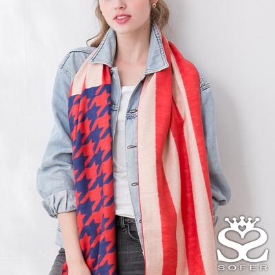 SOFER 千鳥格100%蠶絲圍巾 - 紅藍