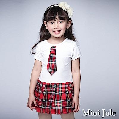 Mini Jule 童裝-洋裝 學院風格紋領帶短袖洋裝(紅)