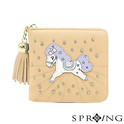 SPRING-夢幻彩虹pony拉鍊短夾-奶茶棕