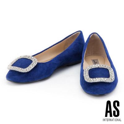 娃娃鞋 AS 晶鑽方釦羊麂皮平底娃娃鞋-藍